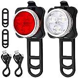 MUTANG LED-Fahrradlicht-Set, Mountainbike-Rücklichter Scheinwerfer für Nachtfahrten USB-Rücklichter LED-Warnlichter mit 4 blinkenden Modi, 2 USB-Kabel