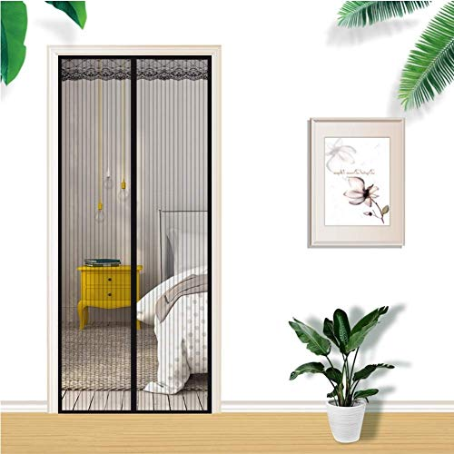 YHEGV Magnetic Fly Screen Door with Full Frame Loop Mosquito Door Screen Hands Free Keeping Flies Mosquito Out-D 47x83inch(120x210cm) -