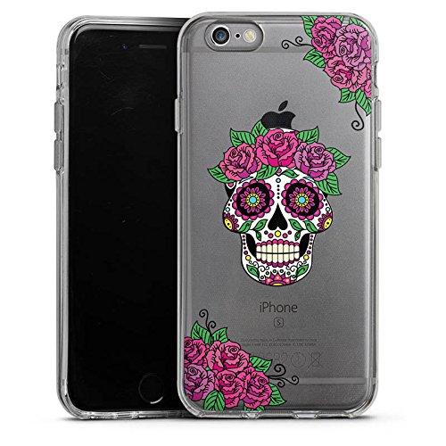 Apple iPhone 6 Plus Silikon Hülle Case Schutzhülle Skull Frauen Totenkopf Blumen Silikon Case transparent