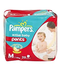 Pampers Active Baby Medium Size Pant Diapers (20 Pant)