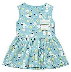 Piccalilly Organic Cotton Blue Girls Summer Dog Print Dress