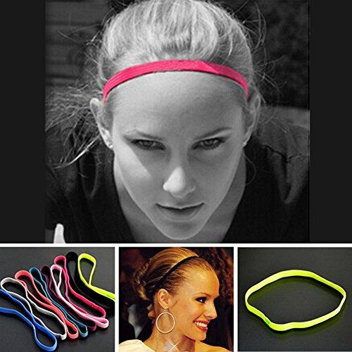 2 Stück Sport-Stirnbänder Slim Haarband, elastisch, rutschfest, dünne dünne dünne Bänder mit Silikon gefüttertes Schweißband für Damen und Herren, Stirnband für Leichtathletik, Yoga, Golf, Laufen