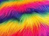 CRS Fur Fabrics Diversión de Pelo Largo Pelo sintético Tejido Material Rainbow Mix