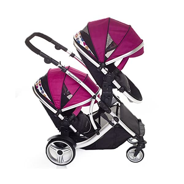 Kids Kargo Double Twin Tandem Pushchair. Duellette BS Suitable for Twins from 6 months. Stroller by Kids Kargo (Dooglebug raspberry) Kids Kargo Demo video please see link http://youtu.be/Ngj0yD3TMSM Various seat positions. Both seats can face mum (ideal for twins) Suitability Twins (Newborn Twins if used with car seats). Accommodates 1 or 2 car seats 4