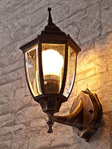 Edle LED Energiespar-Wand-Aussenleuchte 6 Watt in antik up aus Aluguss Außenlampe Wandleuchte