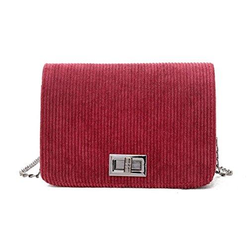 Jamicy Schultertaschen für Damen Klein Damenmode Wolle Haspe Handtasche Crossbody Shoulder Hasp Taschen 7.08 '' x 2.75 '' x 5.12 '' (Rot)