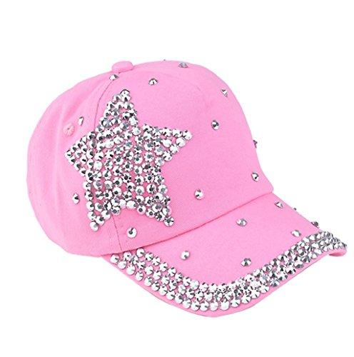 Dairyshop Cappello da baseball di cristallo della stella delle donne degli uomini Donne cappello registrabile dello sport del visiera di Snapback della protezione (Bianco) Rosa