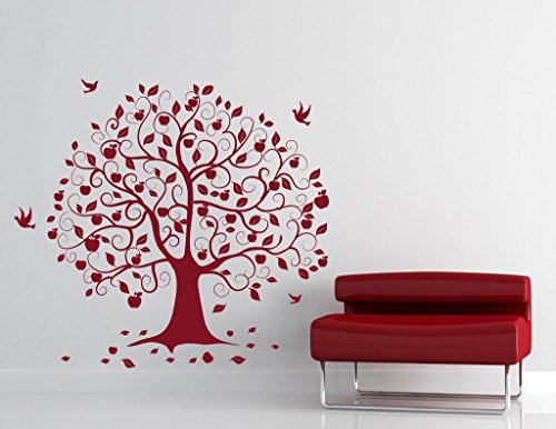 DECOR Kafe Home Decor Birds on Tree Wall Sticker, Wall Sticker for Bedroom, Wall Art, Wall Poster (PVC Vinyl, 81 X 76 cm)