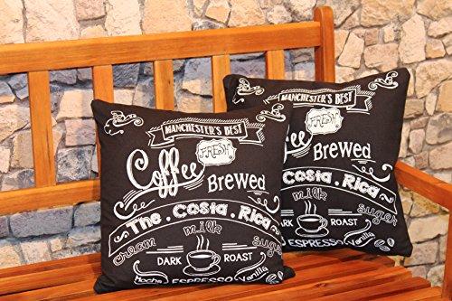 Schwarz, Weiß, Kaffee (KAMACA 2er Set (=2 Stück) Originelle Kissenhülle