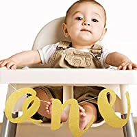 CHENPU Baby 1st Birthday Banner Gold Glitter ONE Bunting for High Chair Wall Hanging Decorations First Birthday Party Supplies Favours