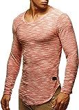 LEIF NELSON Herren Pullover Longsleeve Hoodie Basic Sweatshirt Hoodie Hoody Sweater LN6358; Größe XXL, Lachsrosa
