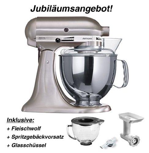 KitchenAid AKTIONSPAKET! Küchenmaschine Metall Gebürstet + Zubehör