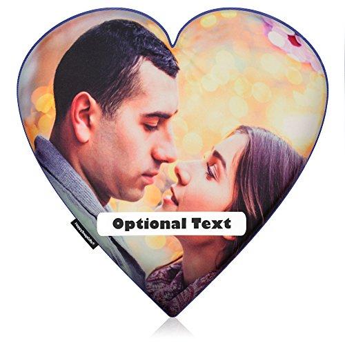 personalisiert Foto Love Kissen Herz von Happy Snap Geschenke, Royal Blue Polycotton, 40 cm (Royal Snap Blue)
