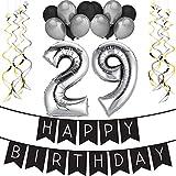 """29th Bday Paquete para Fiesta de Cumpleaños Número 29 """"Happy Birthday""""- Paquete con Banderín de Feliz Cumpleaños Negro y Plateado, Globos y Serpentinas- Decoración para Cumpleaños – Artículos para la Fiesta del 29 Cumpleaños Pack"""