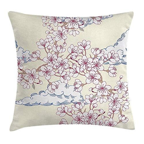 Cherry-gewebe-sofa (Dekokissen KissenbezugIllustration mit Cherry Blossoming Sakura und Wolken-Frühlings-Blumen-Baum-Kunst Pillow Cushion Cover Pillowcase,45x45 cm)