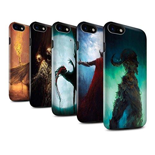 Offiziell Chris Cold Hülle / Glanz Harten Stoßfest Case für Apple iPhone 7 / Dunkelste Stunde Muster / Dämonisches Tier Kollektion Pack 6pcs