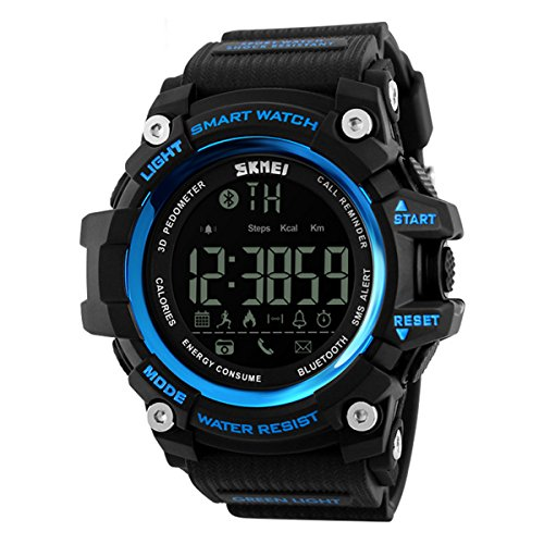 Herren Sport digitaluhr,Bluetooth Bewegung Wasserdicht E Intelligente Step counter Erinnern Digital] Multifunktions uhren-B