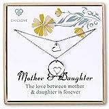 Chiclove Mutter Tochter Set für Zwei, Ausschnitt Herz Ketten, 2 Sterling Silber Halsketten Mother 's Day Geschenk