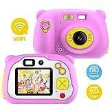 Pancellent Videocamera per Bambini per Ragazze e Ragazzi, WiFi Sharing Videocamera Digitale 1080P HD con Doppia Fotocamera con Involucro in Silicone Morbido per Giochi all'aperto (Rosa)