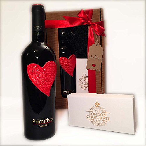 Love Primitivo Red Wine with 8 Luxury Red Wine Chocolate Truffles Gift Boxed just perfect for anniversaries or birrthdays