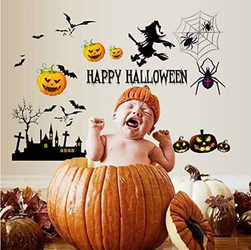 zpbzambm Multi-Stücke Abnehmbare PVC Wandtattoos Halloween Geister Monster Kürbis Wandaufkleber Wandbild Halloween Party Home Decor