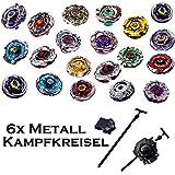 Rapdity 6 er -Set Kreisel für Beyblade Metall Fusion Metal Masters 4D Kampfkreisel inkl. Launcher Zufallsprinzip