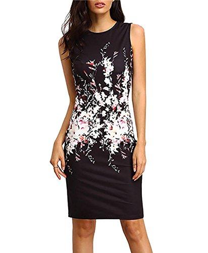 Yieune Sommerkleider Damen Blume Abendkleid Ärmellos Strandkleid Knielang MiniKleider Shift Kleider (Schwarz L) (Schwarze Shift-kleider Für Frauen)