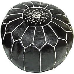 Puf infantil cojín de piel ALMADIH taburetes Otomano negro–cosido a mano poufe marroquí piel Puff cojín reposapiés, con relleno
