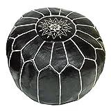 ALMADIH Leder Pouf Sitzkissen schwarz mit weißer Ziernaht aus Ziegenleder mit formstabiler Füllung - 100% traditionelle Handarbeit – Sitzsack Ottoman marokkanische orientalische Lederkissen Bodenkissen (Pouf schwarz)