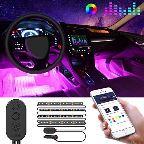 Luz Interior Coche con APP, Minger Tira LED Iluminación Impermeable 48 LED RGB 5050 Música Activada con Controlador para Coche