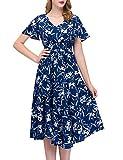 GardenWed Damen Übergröße Chiffon Sommerkleid V-Ausschnitt Strand Blumen Kleider Abendkleid Partykleid Royal Blue Little Flower M