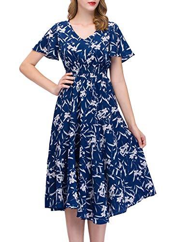 GardenWed Sommerkleider Damen Kurzarm V-Ausschnitt Blumen Strandkleider Partykleid Abendkleid Royal...
