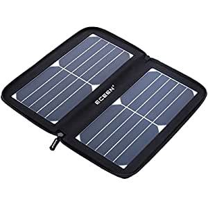 ECEEN 10W Solar Panel Charger, Solar Phone Charger with Unique Zipper Pack Design for iPhone, iPad, iPods, Samsung, Android Smartphones and More (Black)