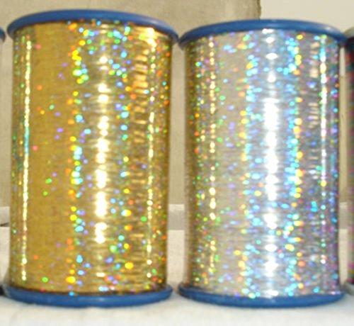 2x Spulen von Holografische Lurex Premium Fäden 1Gold + 1Silber 3000Meter je Spule Größe 1/69 -