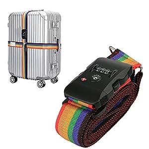 TSA bagages Sangles Topoint Valise trolley Ceinture avec 3Cadran TSA Approuvé Serrure pour sécurité à l'aéroport Multicolore Rainbow-2