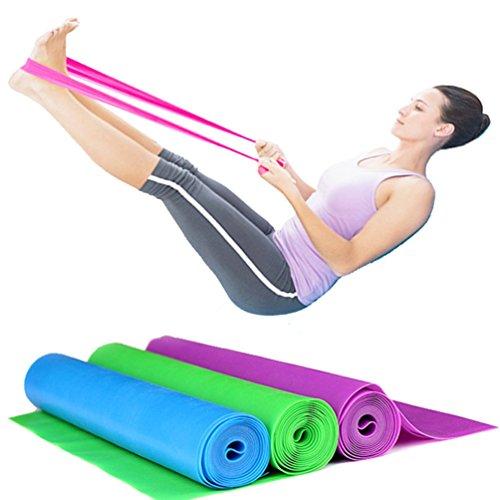 set di 3 bande elastiche in gomma per fitness, da 150x 15cm, bande di resistenza per yoga, pilates, ginnastica riabilitativa, esercizi di fisioterapia, set da 3