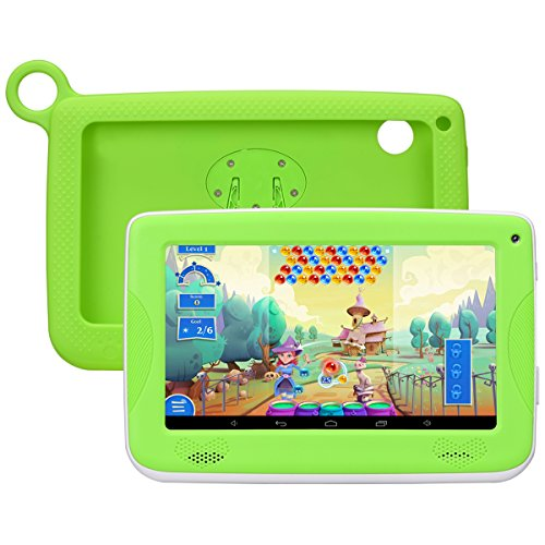 Qimaoo 7 Zoll Kinder Tablet, Android Tablet Kids Bilige Tablet PC 8G ROM+32G SD Speicherkarte Android 4.4 Quad Core 1.2 GHz mit Silikonhülle Kinder Geschenk Grün
