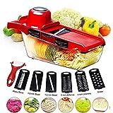 Lvein Küchenhacken von Artefakt Multi-Slicer, Küchenmittelschneider-Chopper 6 austauschbare Klingen mit Peeler, Handschutz, Lebensmittelspeicher Container