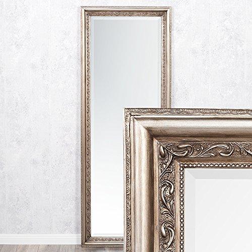 LEBENSwohnART Wandspiegel Argento barock 140x50cm Spiegel Silber-Antik Holzrahmen und Facette