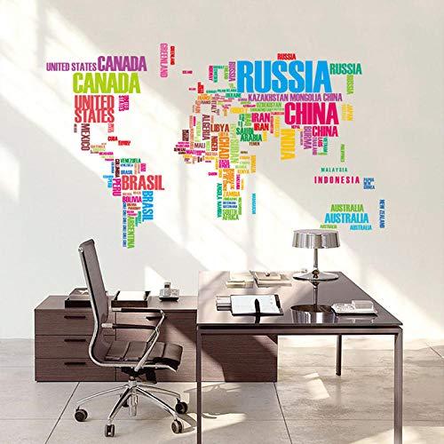 Bricolage Stickers Muraux Decor A La Maison Colore Personnages Anglais Carte Du Monde Peintures Murales Art Adesivo De Parede Mapa Mundi