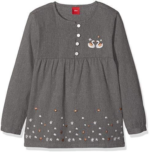 s.Oliver Junior Mädchen 53.809.11.3128 Bluse, Grau (Dark Grey Melange 9722), 128 (Bluse Mädchen Junior)
