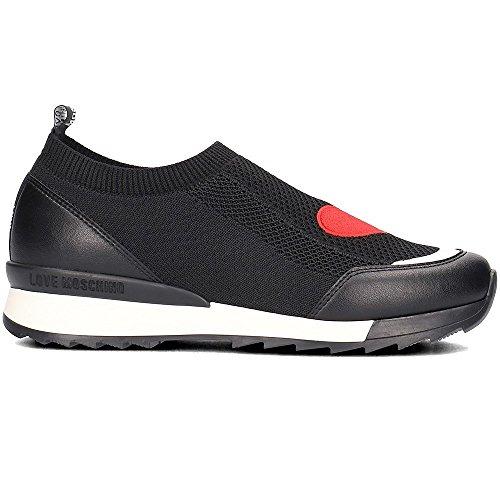 Love Moschino Damen Scarpad.power25 Calzino Nero+VIT.Ne Slip On Sneaker mehrfarbig (Black-White)