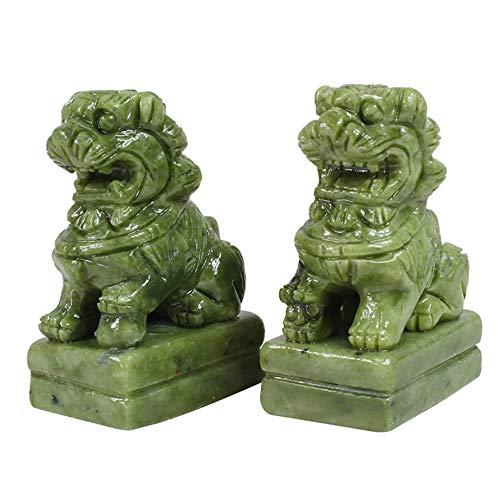 LINGS EIN Paar Green Stone Guardian-Statuen, Peking-Löwenpaar Fu FOO Dogs, chinesisches Feng Shui-Dekor für Haus und Büro, Wohlstand und viel Glück, Vier Größen,Medium - Outdoor-löwen-statuen