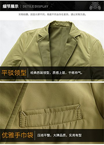WS668 Herren Lose Lang Dünne Mantel Casual Retro Business Anzug Jacke Mens Fashion Jackets Khaki