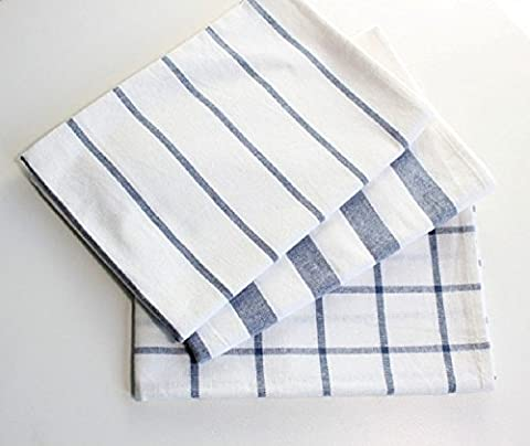 K&C Cotton Craft Napkins 3 Pack Oversized Dinner Napkins 100% Cotton Nautical Blue French Stripe