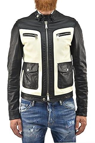 Dsquared2 Men's Leather Biker Jacket Multicolor - size 46