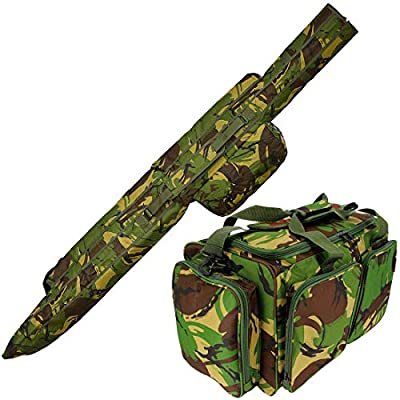 Camo DPM Carp Coarse Fishing Rod and Reel Holdall Carryall 3 + 3 Made Up Rods with Deluxe DPM Green Tackle Bag Carryall + Shoulder Strap