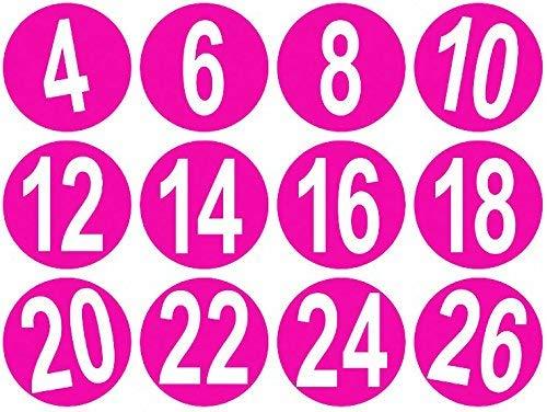 13mm Kleider Größe Aufklaber, 20, Pink, 200 (13 Kleider Größe)