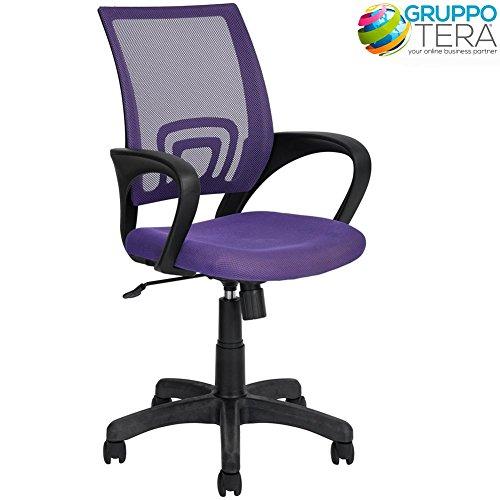 Bakaji sedia scrivania kite poltrona per ufficio girevole con braccioli e ruote altezza regolabile (viola)