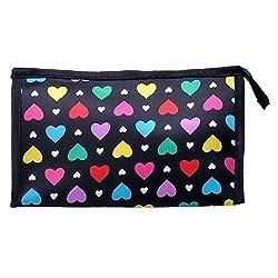 Travel Bag - TOOGOO(R)Cute Colorful Love Heart Polyester Comestic Makeup Storage Travel Bath Organizer Bag